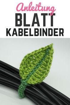 Bringen Sie etwas Natur und Grün in ihren schwarz weißen Kabelsalat. Dieser einblättrige gehäkelte Kabelbinder ist im Nu