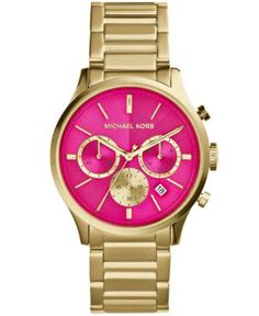 Michael Kors Women's Chronograph Bailey Gold-Tone Stainless Steel Bracelet Watch