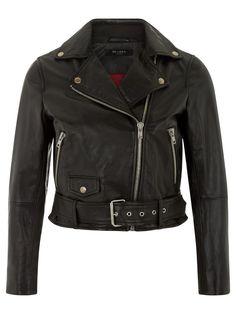 Muubaa Irwin Cropped Black Leather Biker Jacket