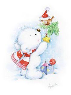 quenalbertini: Marina Fedotova Art (Part Christmas Clipart, Noel Christmas, Christmas Printables, Christmas Pictures, All Things Christmas, Winter Christmas, Vintage Christmas, Christmas Crafts, Christmas Decorations