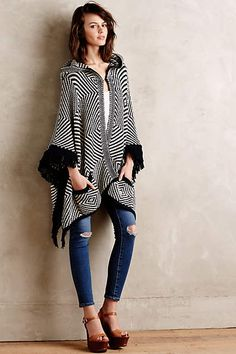 Op Art Hooded Poncho - anthropologie.com