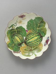 Chelsea Hans Sloane Botanical Circular Dish painted with Melons Circa 1755 Please hover over image to enlarge Go Back Antique China, Vintage China, Antique Plates, Chelsea, Porcelain Ceramics, China Porcelain, Vintage Crockery, Art Decor, Pottery