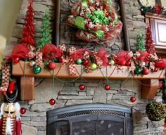 Enhance an already festive fireplace by draping Mardi Gras beads and ornaments along your mantel. If you just can't get enough, use ornament hooks to string pieces from the bead garland as well.
