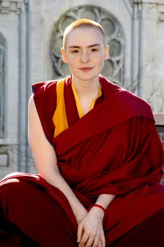 This 2007 photograph taken by Jenny Jozwiak, shows a picture of a western Buddhist nun by the name of Kelsang Demo. She is a Resident Teacher at Vajradhara Meditation Center on Adelphi Street in New York.