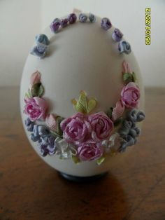 Wonderful Ribbon Embroidery Flowers by Hand Ideas. Enchanting Ribbon Embroidery Flowers by Hand Ideas. Ribbon Art, Ribbon Crafts, Egg Crafts, Easter Crafts, Easter Art, Easter Eggs, Embroidery Boutique, Easter Egg Designs, Silk Ribbon Embroidery