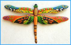 """Painted Metal Dragonfly Wall Hanging - Handcrafted Tropical Wall Art - Metal wall decor. Garden art. Decorative painted metal dragonfly -  Tropical home décor, Garden décor, Metal wall hanging  Metal Dragonfly Wall Art measures -14"""" x 24"""""""
