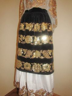 Pair of old hand embroidered Romanian aprons from Banat / Caransebes. They are hand embroidered with golden and silver tinsel .Available at www.greatblouses.com Old Hands, Apron, Sequin Skirt, Dreams, Costumes, Traditional, Embroidery, Patterns, Beautiful