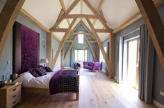 Modern Oak frame Eco House with traditional joining
