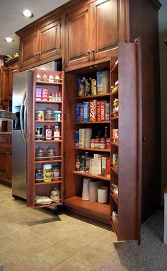 built in kitchen pantry cupboards | swing open pantry with racks