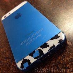Custom Blue iPhone 5 with leopard Back glass from www.swapitout.biz