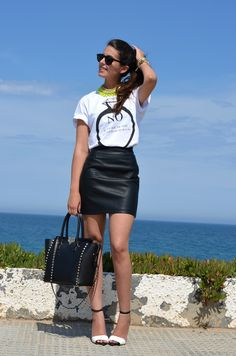 leather skirt with t-shirt - Google Search