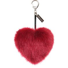 Helen Moore Faux Fur Heart Keyring - Crimson ($39) ❤ liked on Polyvore featuring accessories, fillers, extras, jewelry, keychains, red, heart shaped key chains, ring key chain, heart key chain and key chain rings