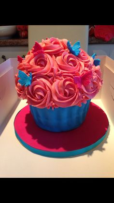 Giant cupcake with butterflies