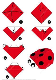 Origami 62164 Instructions on the origami ladybug Design Origami, Instruções Origami, Origami Paper Folding, Origami Dragon, Paper Crafts Origami, Origami Star Box, Paper Crafting, Origami Ideas, Origami Bird