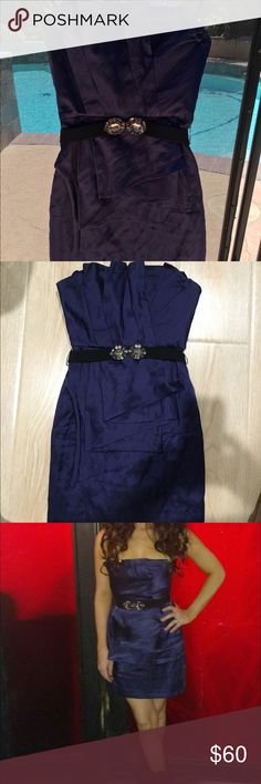 Dark blue BCBG dress Beautiful dress. Very stylish. Used couple time. Belt comes with dress BCBGMaxAzria Dresses Mini