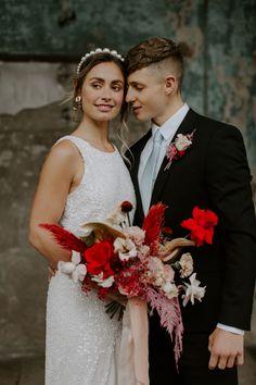 Modern Millennial Pink and Scarlet Red Australian Wedding Theme Alternative Wedding Inspiration, Alternative Bouquet, Wedding Headband, Pearl Headband, Wedding Bouquet, Wedding Flowers, Best Wedding Blogs, Groom And Groomsmen Attire, Wedding Designs