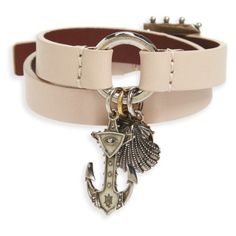 Women's Alexander Mcqueen Marine Leather Wrap Bracelet (971 050 LBP) ❤ liked on Polyvore featuring jewelry, bracelets, spitafield pink, beading charms, beaded wrap bracelet, charm jewelry, leather wrap bracelet and leather bangles