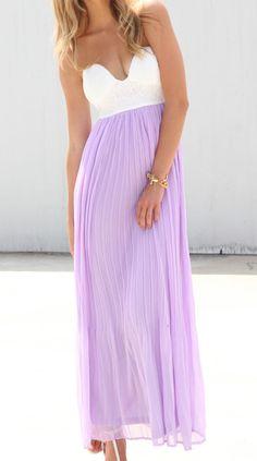 white & lavender maxi dress