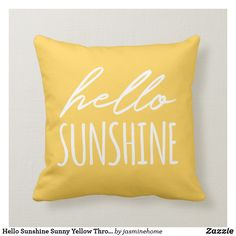 Shop Hello Summer Typography Yellow Orange Throw Pillow created by jasminehome. Orange Throw Pillows, Yellow Room Decor, Bedroom Yellow, Dream Bedroom, Summer Typography, Sunflower Room, Teen Girl Bedrooms, Hello Sunshine, Courtyards