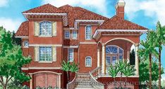 The curved stairs of the Chelsea Passage house plan lead up to the large covered porch | Sater Design Collection Home Plans Elevation Plan, Front Elevation, Mediterranean Design, Luxury House Plans, Bedroom Doors, Tuscan Style, Luxury Homes, Floor Plans, Exterior