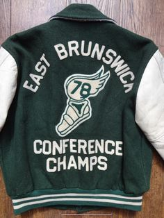 """Vintage 1970s 70s green white wool leather varsity jacket college track East Brunswick quilted Hewitt Mfg. Co. Ivy League large 52"""" chest by TheDustbowlVintage on Etsy https://www.etsy.com/listing/239022911/vintage-1970s-70s-green-white-wool"""