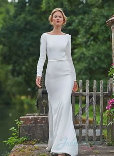 sexy simple long sleeved backless sheath wedding dress,More Gowns from JDsBridal.com