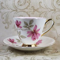 Old Royal Pink, Yellow, Brown Gold Rimmed Bone China England Teacup and Saucer on Etsy, 10,41€