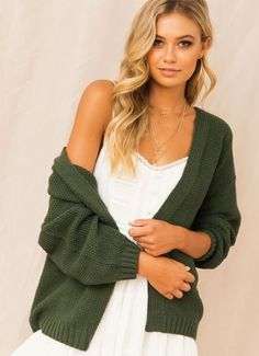 Buy Florence Cardigan - Green at Peppermayo online now. Browse the latest fashion trends, & more! Cute Website, Mens Sale, Latest Fashion Trends, Florence, Rib Knit, Green, Sweaters, Shopping, Design