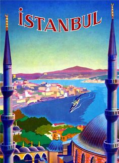 Istanbul Turkey Vintage Travel Art Advertisement Poster in Posters | eBay