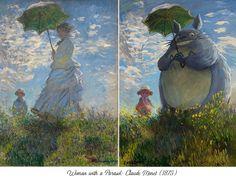 Woman with a Parasol by Claude Monet VS Studio Ghibli Thomas Gainsborough, Art And Illustration, Studio Ghibli, Claude Monet, Anime Kunst, Anime Art, Totoro Ghibli, Pop Art, Johannes Vermeer