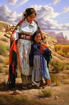 """SISTERS""  by artist Alfredo Rodriguez AMERICAN INDIAN ART"