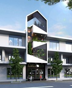ideas exterior architecture modern arquitetura for 2019 3 Storey House Design, Duplex House Design, House Front Design, Small House Design, Modern House Design, H Design, Facade Design, Exterior Design, Design Ideas