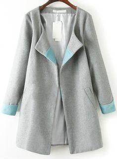 Abrigo de lana suelto manga larga-gris 29.03