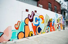 Coming soon, The graffiti artist Greg Lamarche designed this mural for J.Crew's first Williamsburg location. Murals Street Art, Street Art Graffiti, Mural Wall Art, Graffiti Wall, Graffiti Lettering, Hoarding Design, School Murals, Environmental Graphics, Environmental Design