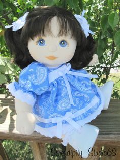 """DRESS SET w/ Hair Barrettes & Bloomers for MY CHILD DOLL-""""Blue w/ White Paisley"""" #SerendipityStudio"""