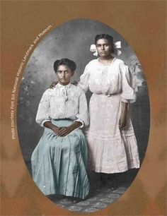 Amy White Wratten, Blossom White Wratten (daughters of George Medhurst Wratten and Annie White-Wratten) - Chiricahua Apache/EuroAmerican - circa 1900