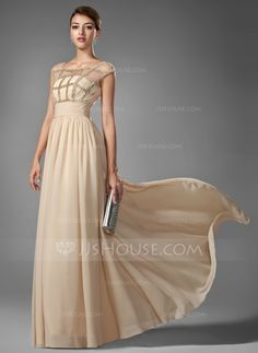 A-Line/Princess Scoop Neck Floor-Length Chiffon Prom Dress With Ruffle Beading (018005069) - JJsHouse
