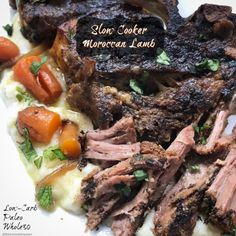 Lamb, spices, and a few vegetables are all you need for this simple slow cooker recipe. Combined these ingredients bring Morocco to your kitchen. Whole30 Recipes Lunch, Recetas Whole30, Quick Lunch Recipes, Easy Whole 30 Recipes, Paleo Recipes, Meat Recipes, Recipies, Lamb Shoulder Slow Cooker, Lamb Chops Slow Cooker