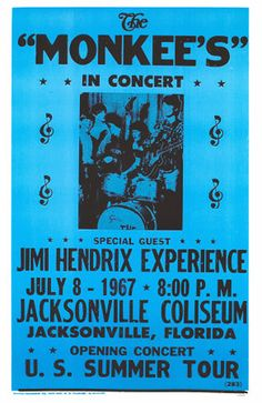 July 8, 1967 ~ Jacksonville, Florida Poster | The Monkees in Concert with Special Guest, Jimi Hendrix