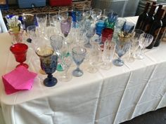 Eclectic mismatched wine glasses