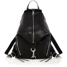 Rebecca Minkoff Julian Perforated Backpack featuring polyvore, fashion, bags, backpacks, apparel & accessories, leather knapsack, blue bag, black bag, leather rucksack and rebecca minkoff