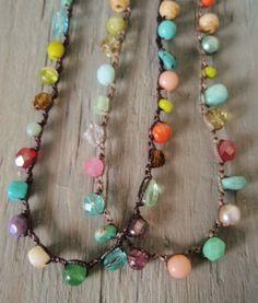 Colorful crochet necklace RainBow Splash Multi por slashKnots