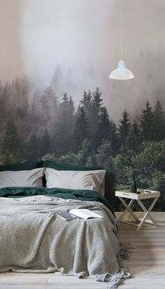 Rest easy amongst the treetops with this breathtakingly beautiful forest wallpaper Intense hues of emerald green contrast the thick mist giving your bedroom spaces depth. Green Bedroom Design, Bedroom Green, Cozy Bedroom, Bedroom Ideas, Master Bedroom, Forest Bedroom, Emerald Bedroom, Bedroom Bed, Modern Bedroom
