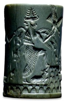 Cylinder seal showing Enki, used to make the above seal impression