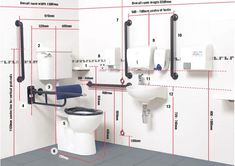 This is an example of a commercial disabled access package. Disabled Bathroom, Handicap Bathroom, Bathroom Plumbing, Bathroom Design Small, Bathroom Interior Design, Restroom Design, Unisex Toilets, Toilet Plan, Bathroom Layout Plans