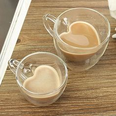 Xiaolanwelc@ Glass Tea Cup With Handle Heart Shaped Clear Double Wall Lovers Coffee Afternoon Tea Double Layer Glass Mug clear) Coffee Shop, Coffee Cups, Glass Tea Cups, Home Interior, Interior Livingroom, Interior Modern, Cute Mugs, Mug Cup, Cheap Home Decor