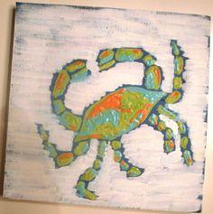 Coastal crab nautical beach painting art lime green orange blue aqua navy nursery decor. $29.00, via Etsy.