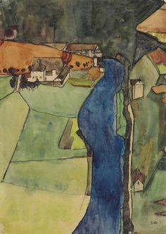 Egon Schiele (1890-1918) Stadt am blauen Fluss (Krumau) (1910), gouache, watercolor, metallic paint and black Conté crayon on paper 45 x 31.4 cm
