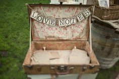 Use an old suitcase or picnic case for guests to place the polaroid pics.