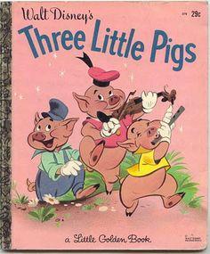 "Free: Vintage ""Golden Book"" Walt Disney's ""The Three Little Pigs"" - Children's Books Old Children's Books, Vintage Children's Books, Good Books, My Books, Walt Disney, 007 Casino Royale, Material Didático, Bd Comics, Three Little Pigs"